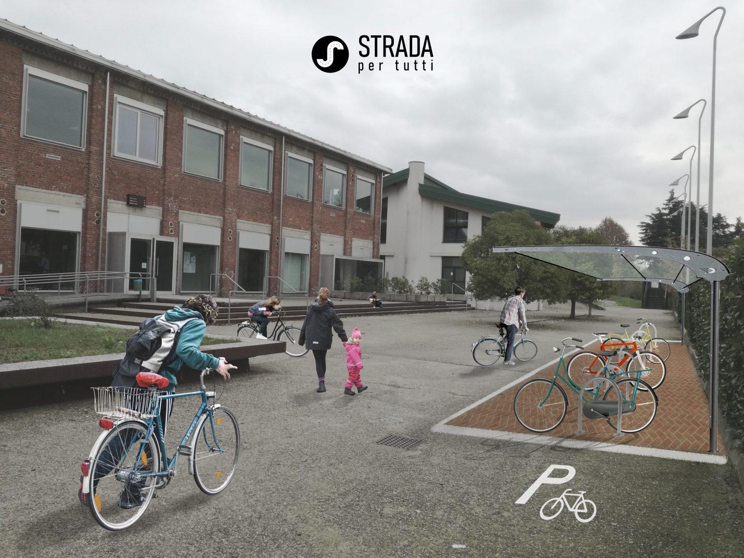 Progetto biblioteca Castellanza parcheggio biciclette